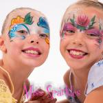 Twins roses and dolphin facepainting